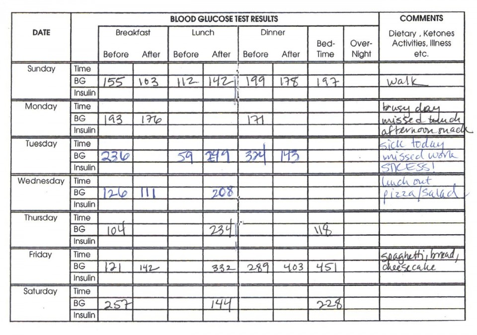 006 Awesome Blood Sugar Log Book Template Idea  Glucose960