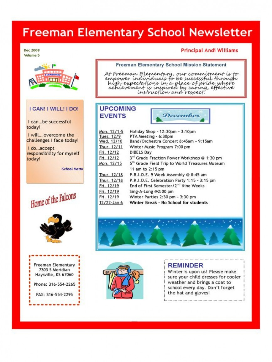 006 Awesome Elementary School Newsletter Template High Definition  Word Counselor