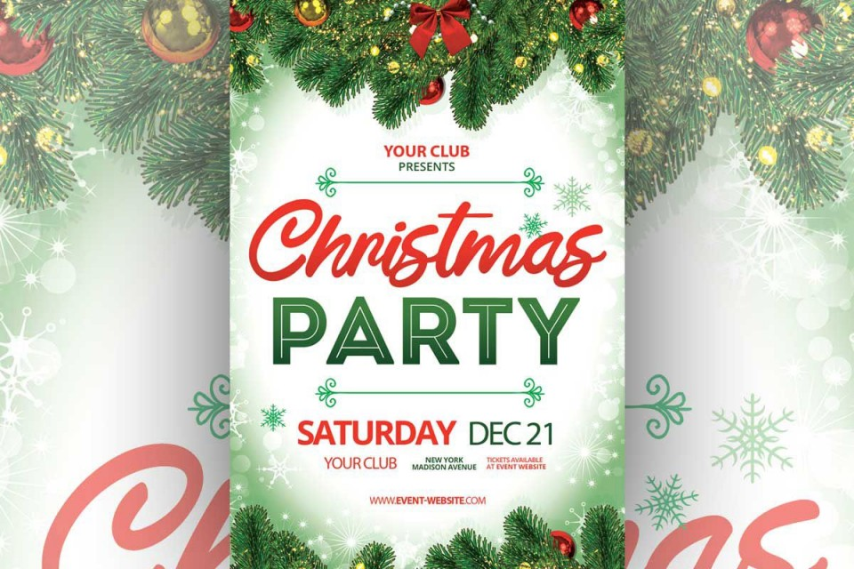 006 Awesome Free Christma Poster Template High Definition  Uk Party Download Fair960
