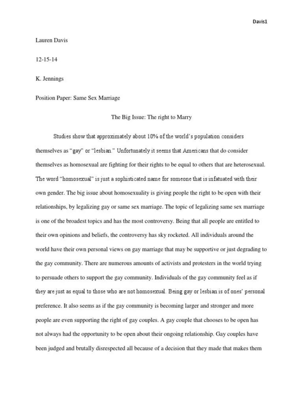 006 Awesome Gay Marriage Essay Inspiration  Example Clever Title ForLarge