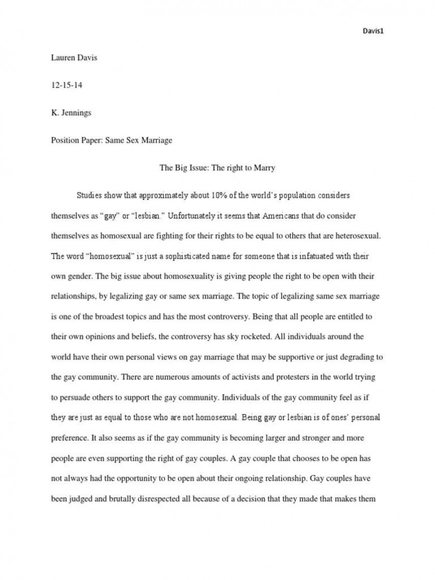 006 Awesome Gay Marriage Essay Inspiration  Thesi Statement Example 500 Word