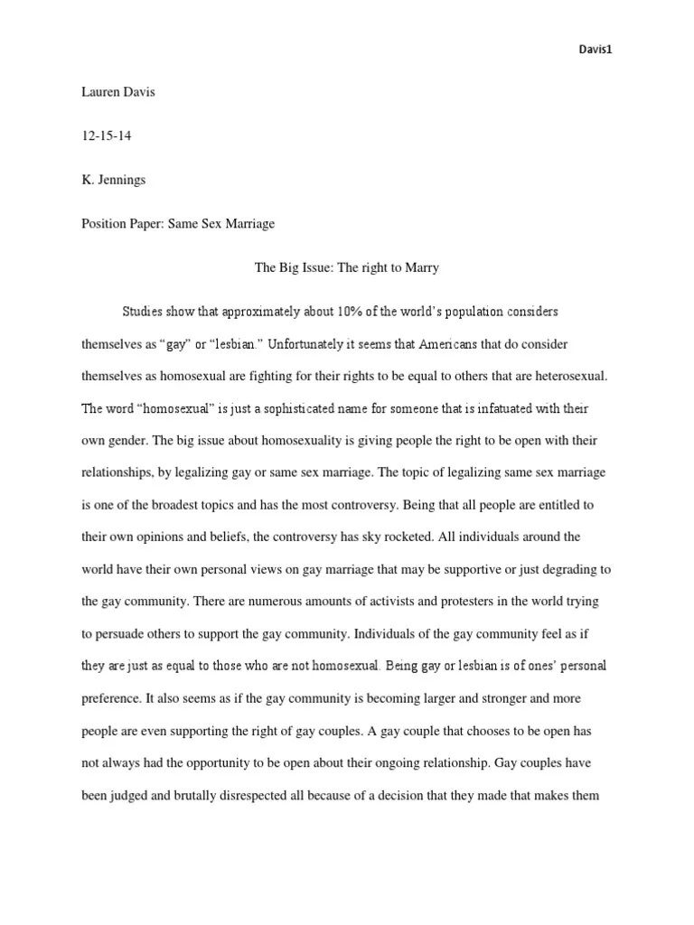 006 Awesome Gay Marriage Essay Inspiration  Example Clever Title ForFull
