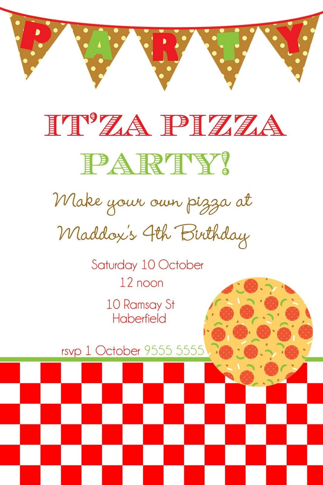 006 Awesome Pizza Party Invitation Template Free High Resolution  PrintableFull