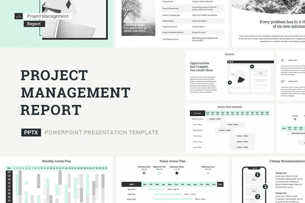 006 Awesome Project Management Report Template Ppt Picture  Weekly StatuLarge