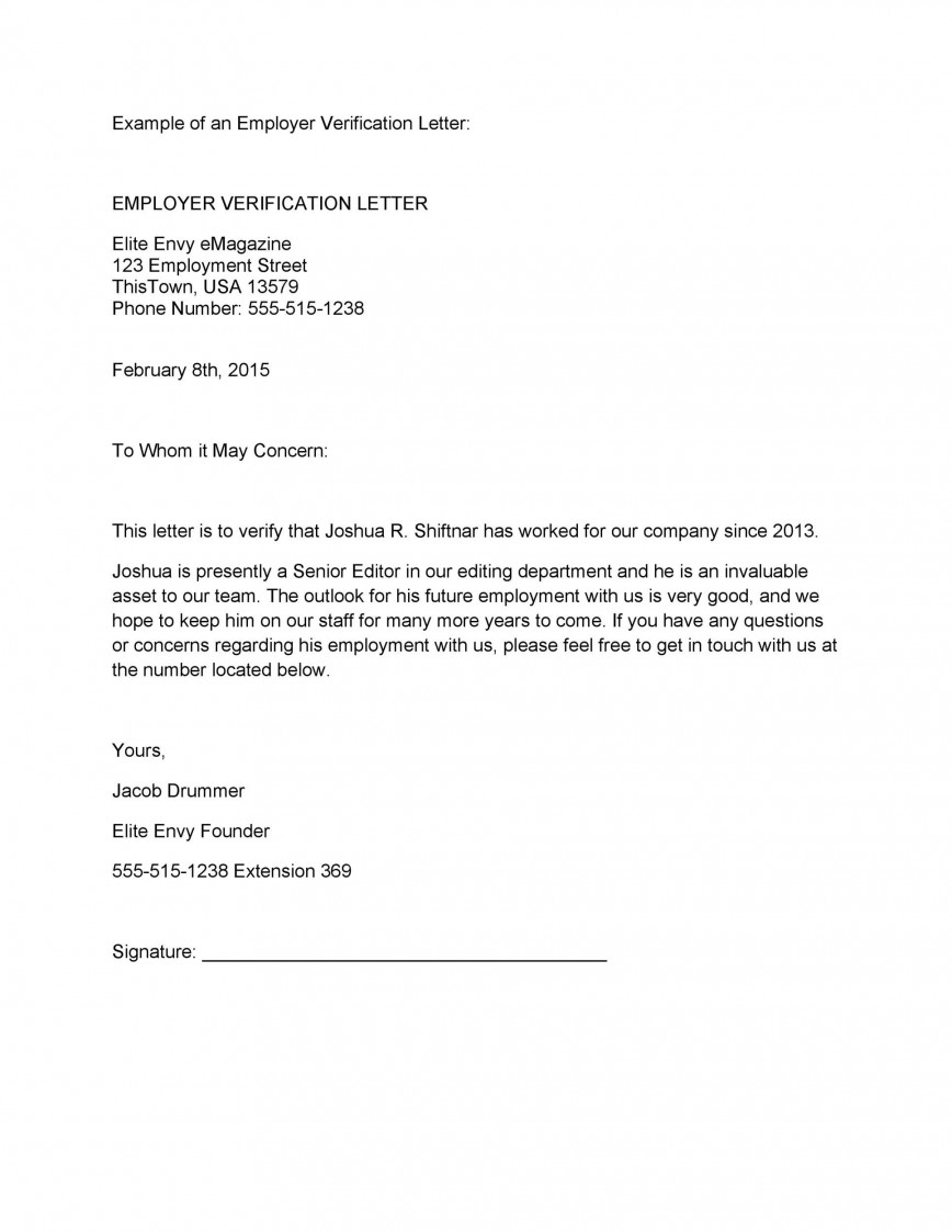 Proof Of Employment Letter Template Addictionary
