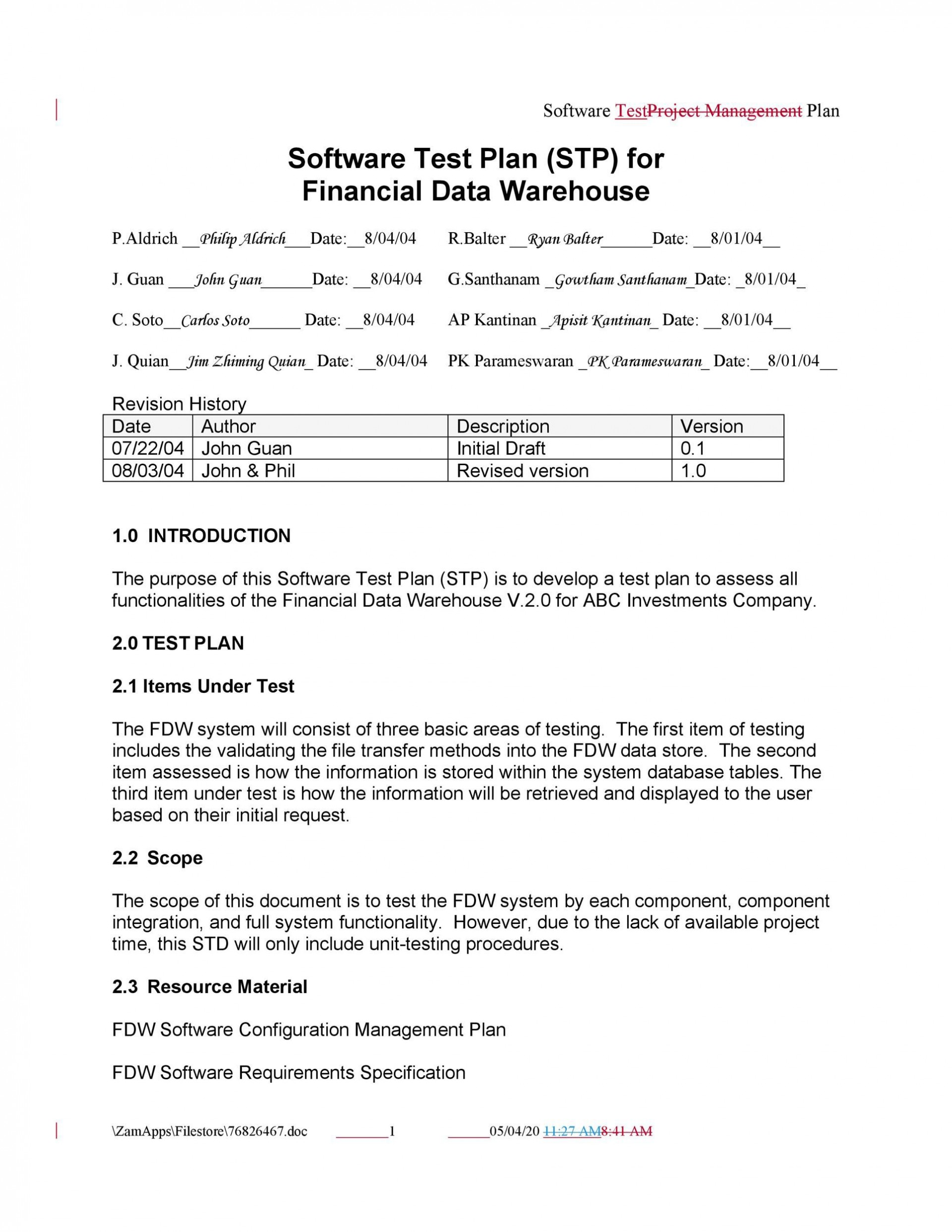 006 Awesome Software Testing Plan Template Picture  Test Agile Unit Example Pdf1920