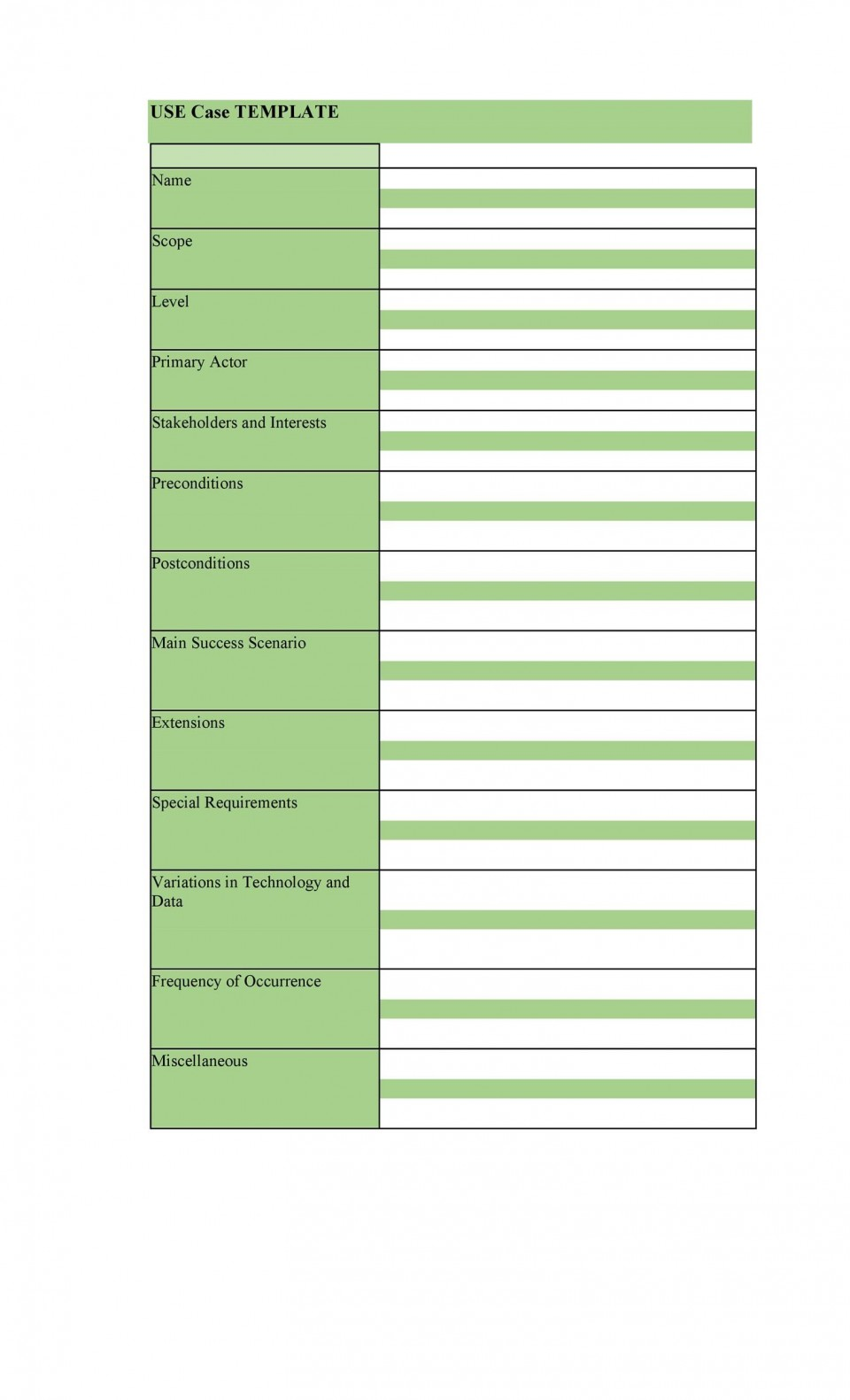 006 Awesome Use Case Template Word Idea  Doc Test960