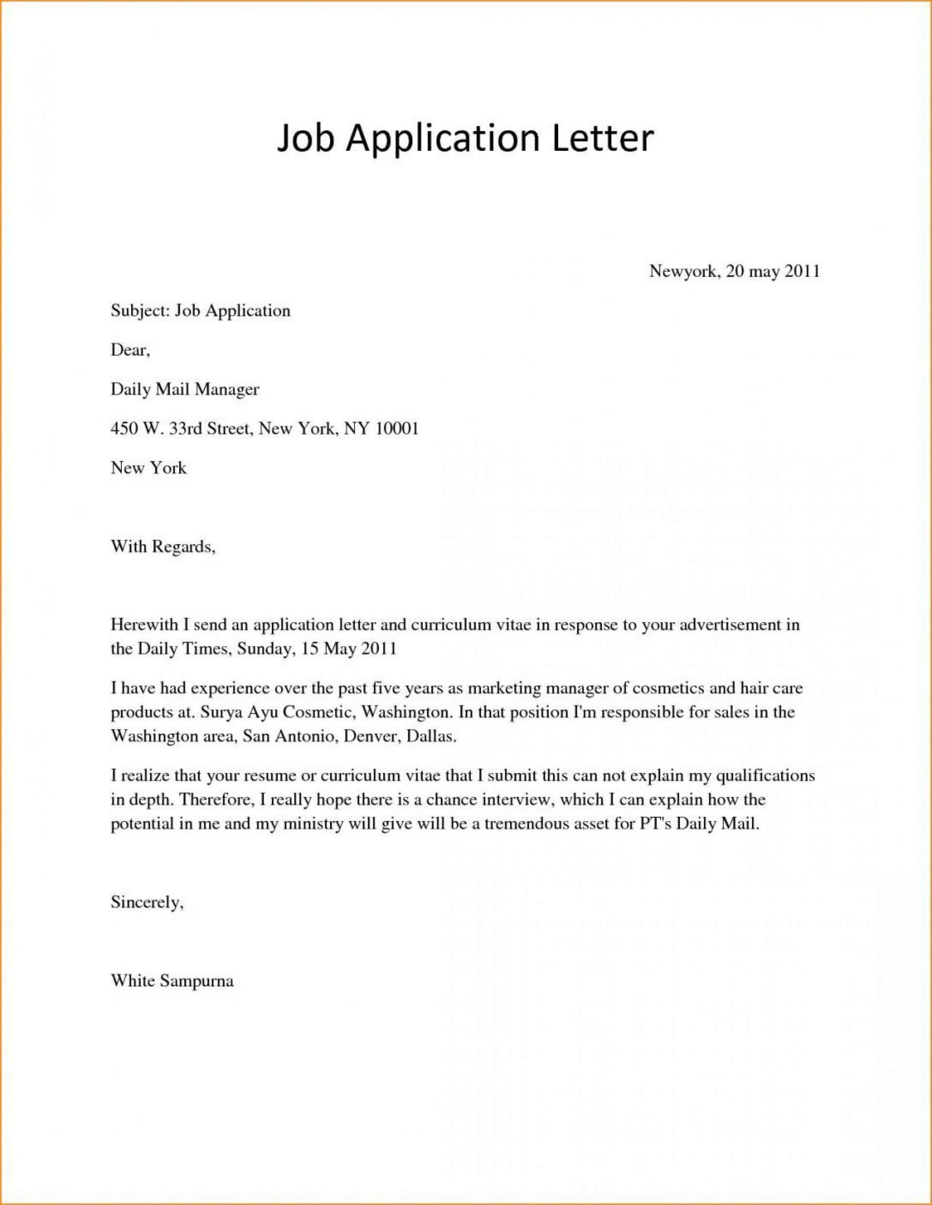006 Awful Basic Covering Letter Template Photo  Simple Application Job Sample Cover1920