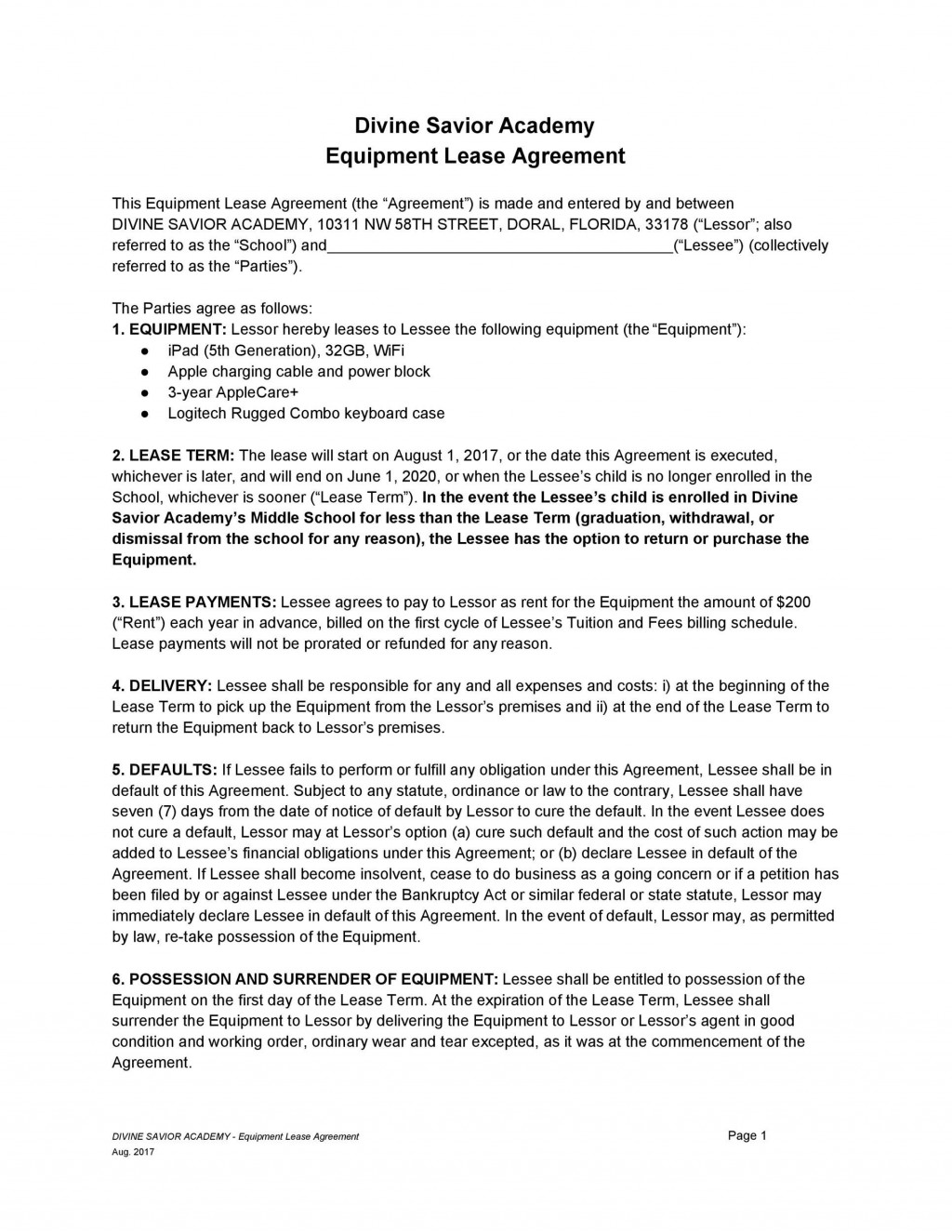 006 Awful Equipment Lease Contract Template Free High Definition  Agreement WordLarge