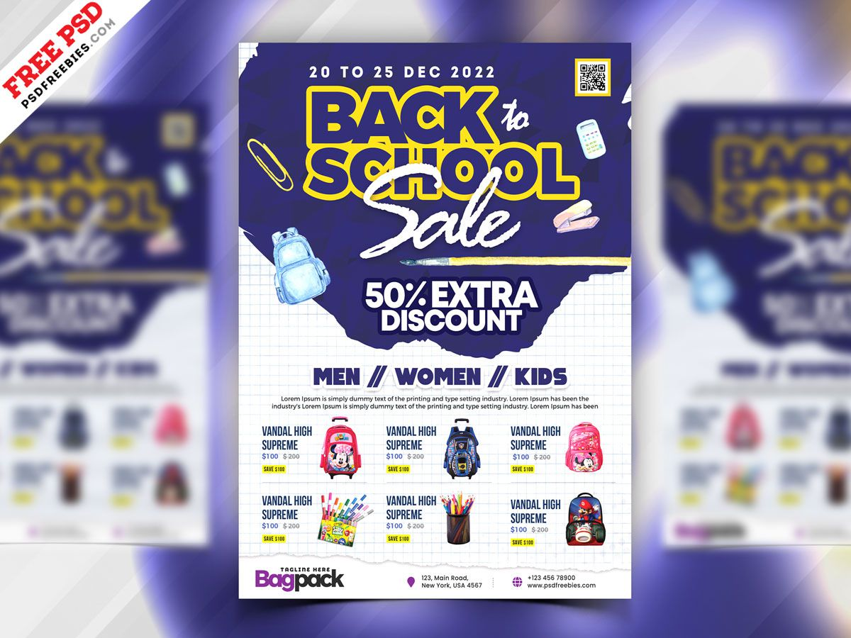006 Awful Free Back To School Flyer Template Psd Image Full