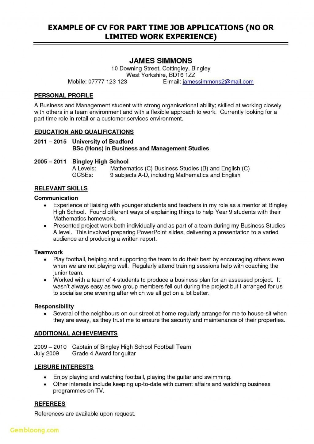 006 Awful Part Time Job Resume Template Photo  Student Summary ExampleLarge