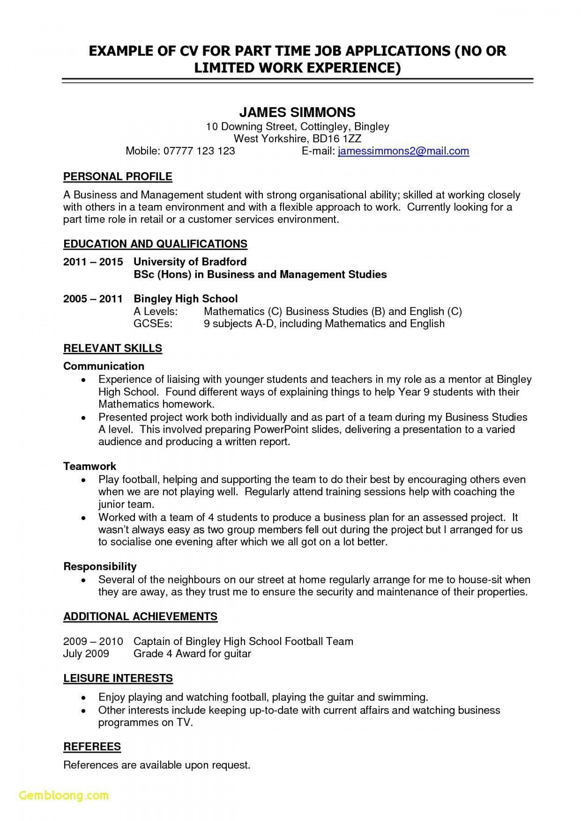 006 Awful Part Time Job Resume Template Photo  Student Summary Example1920