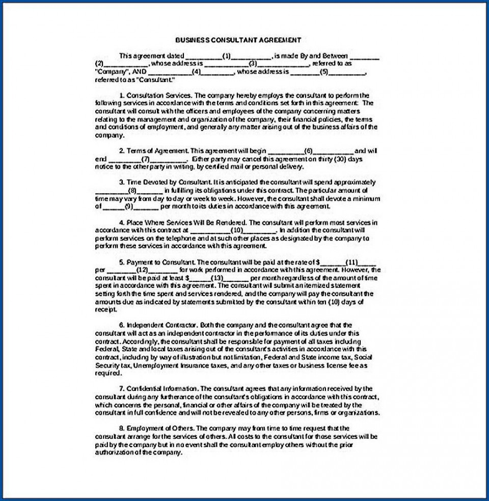 006 Awful Simple Consulting Agreement Template Idea  Service Uk Free960
