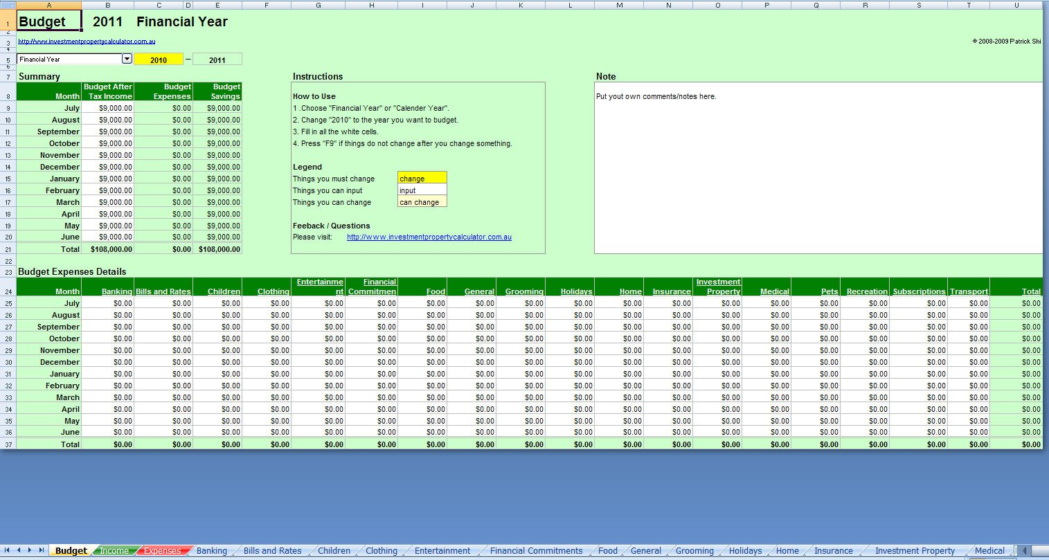 006 Awful Simple Excel Budget Template Design  Personal South Africa Household FreeFull