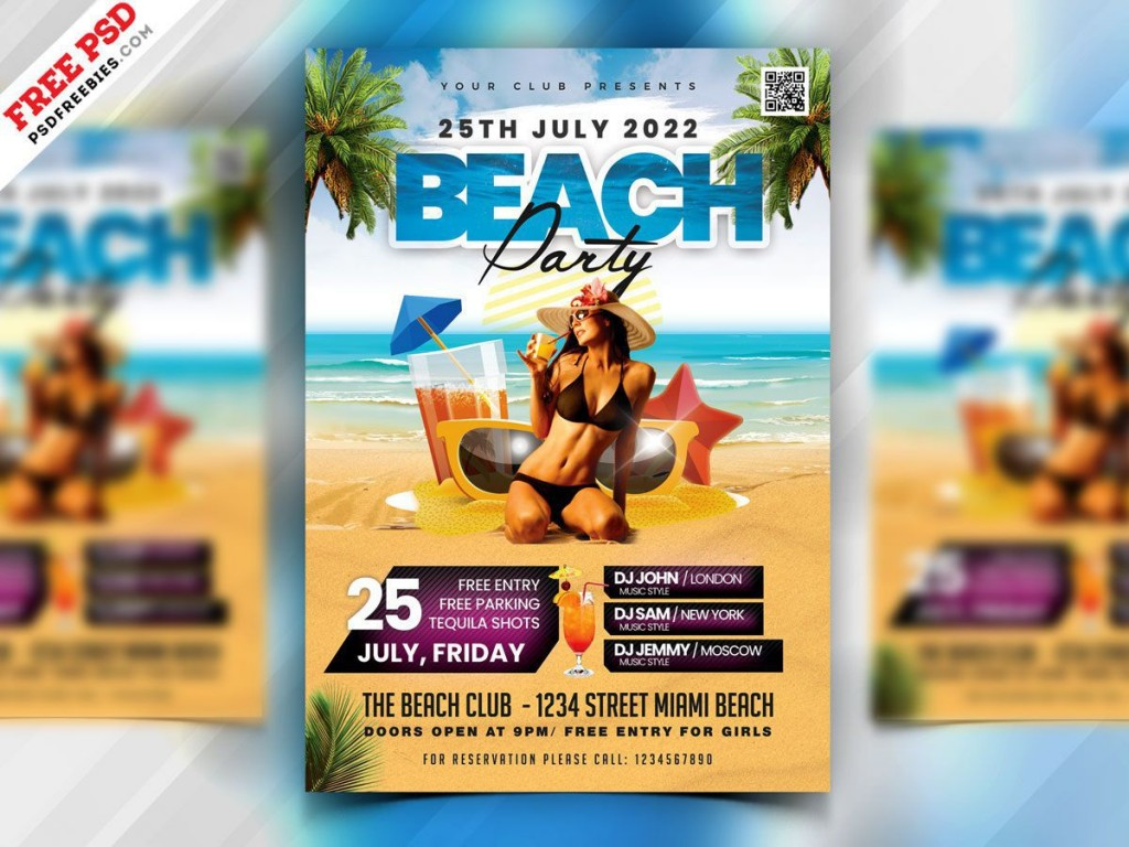 006 Awful Summer Party Flyer Template Free Download Idea Large
