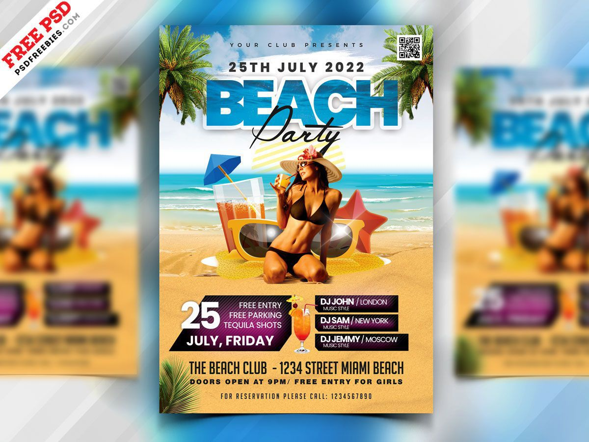 006 Awful Summer Party Flyer Template Free Download Idea Full