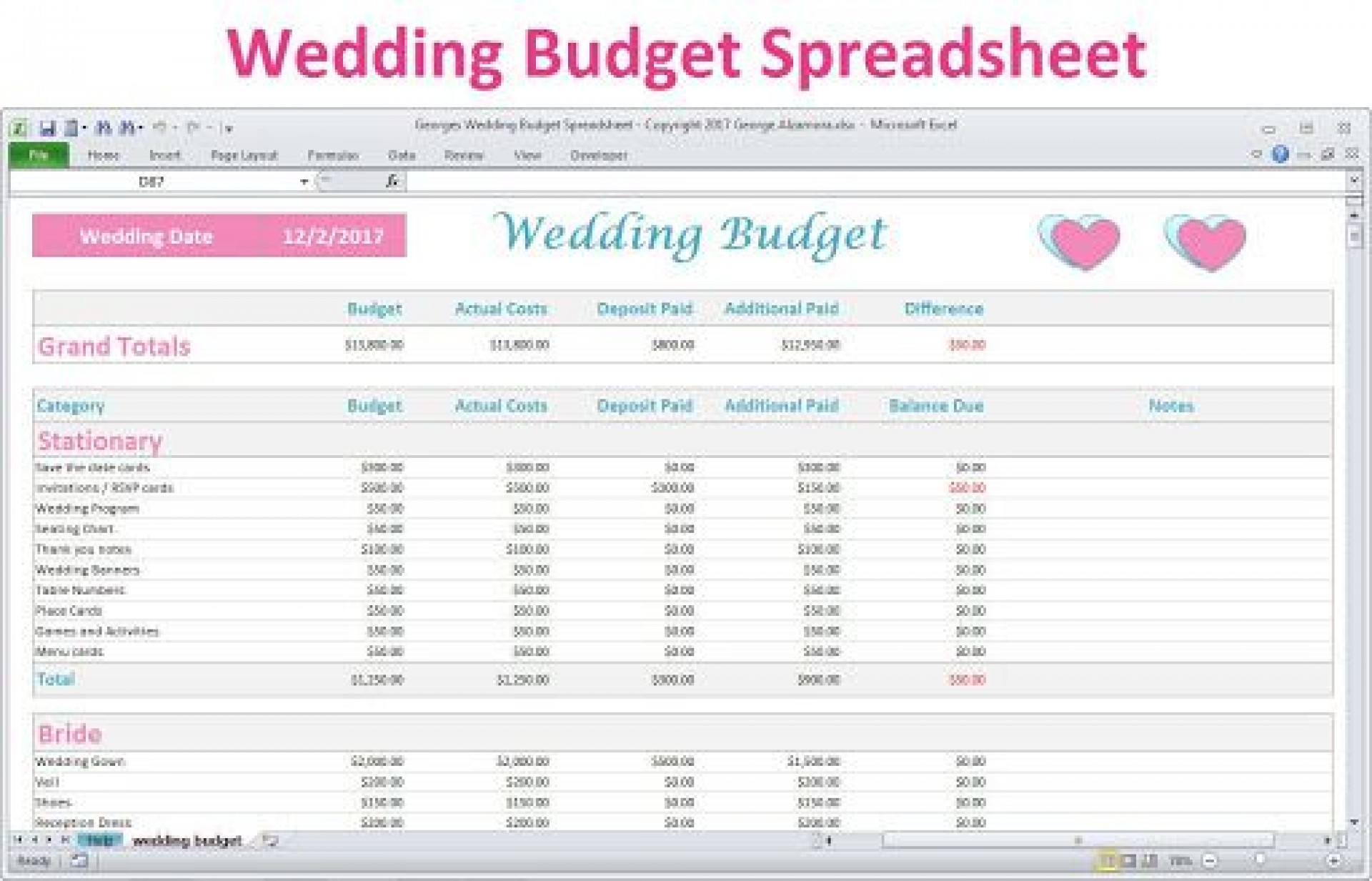 006 Awful Wedding Budget Template Excel High Resolution  South Africa Sample Spreadsheet1920