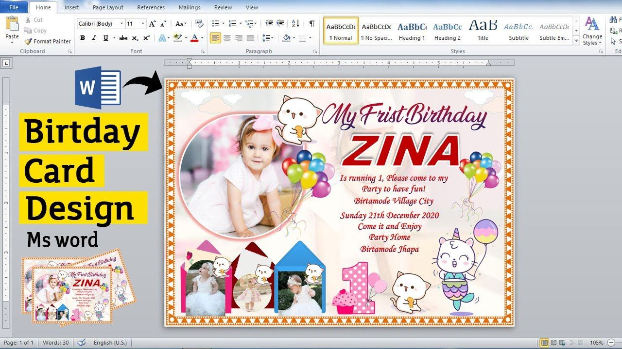 006 Beautiful Birthday Card Template For Word 2010 Picture  Greeting MicrosoftFull