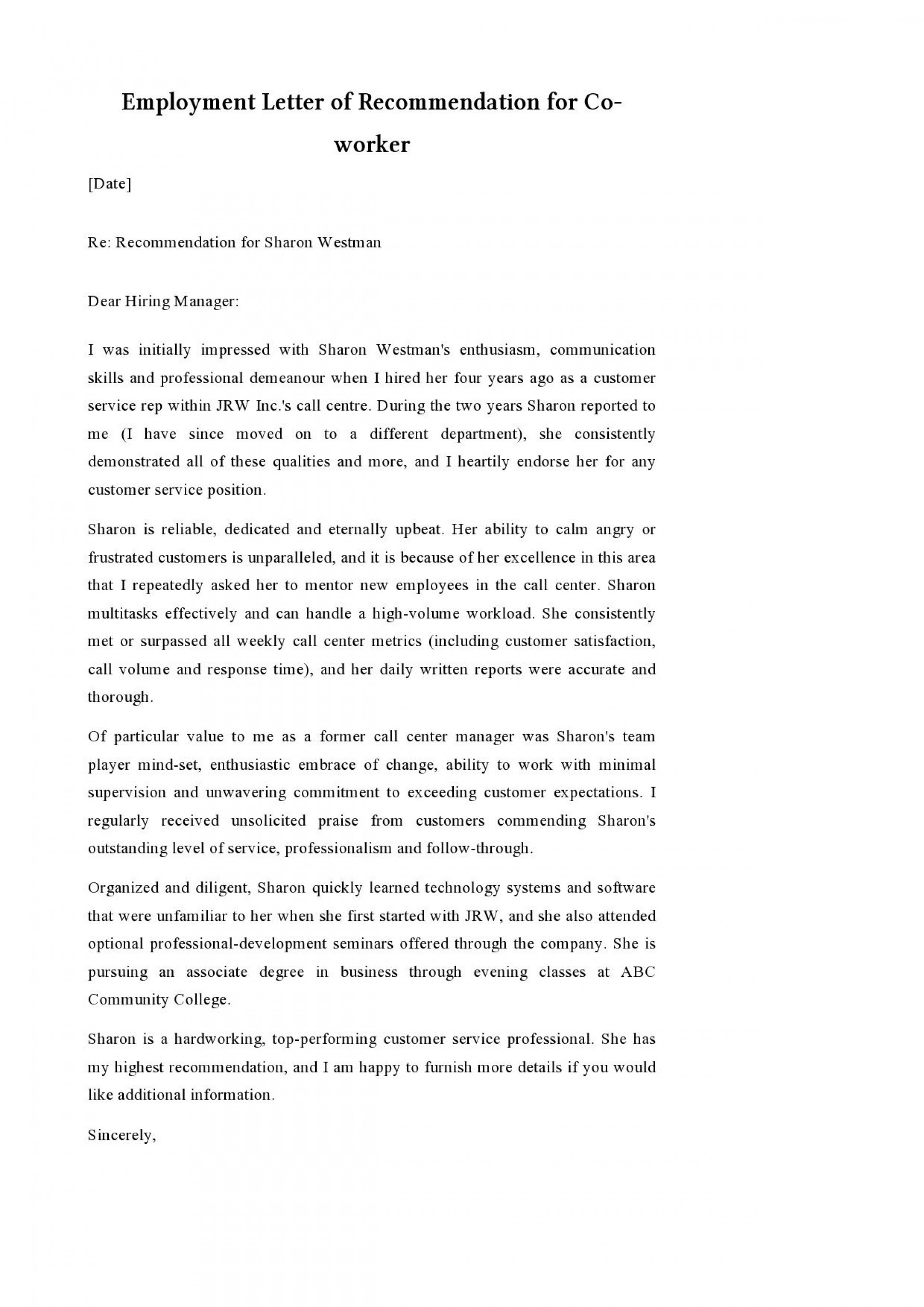 006 Beautiful Format For Letter Of Recommendation Sample Highest Quality  Samples1920