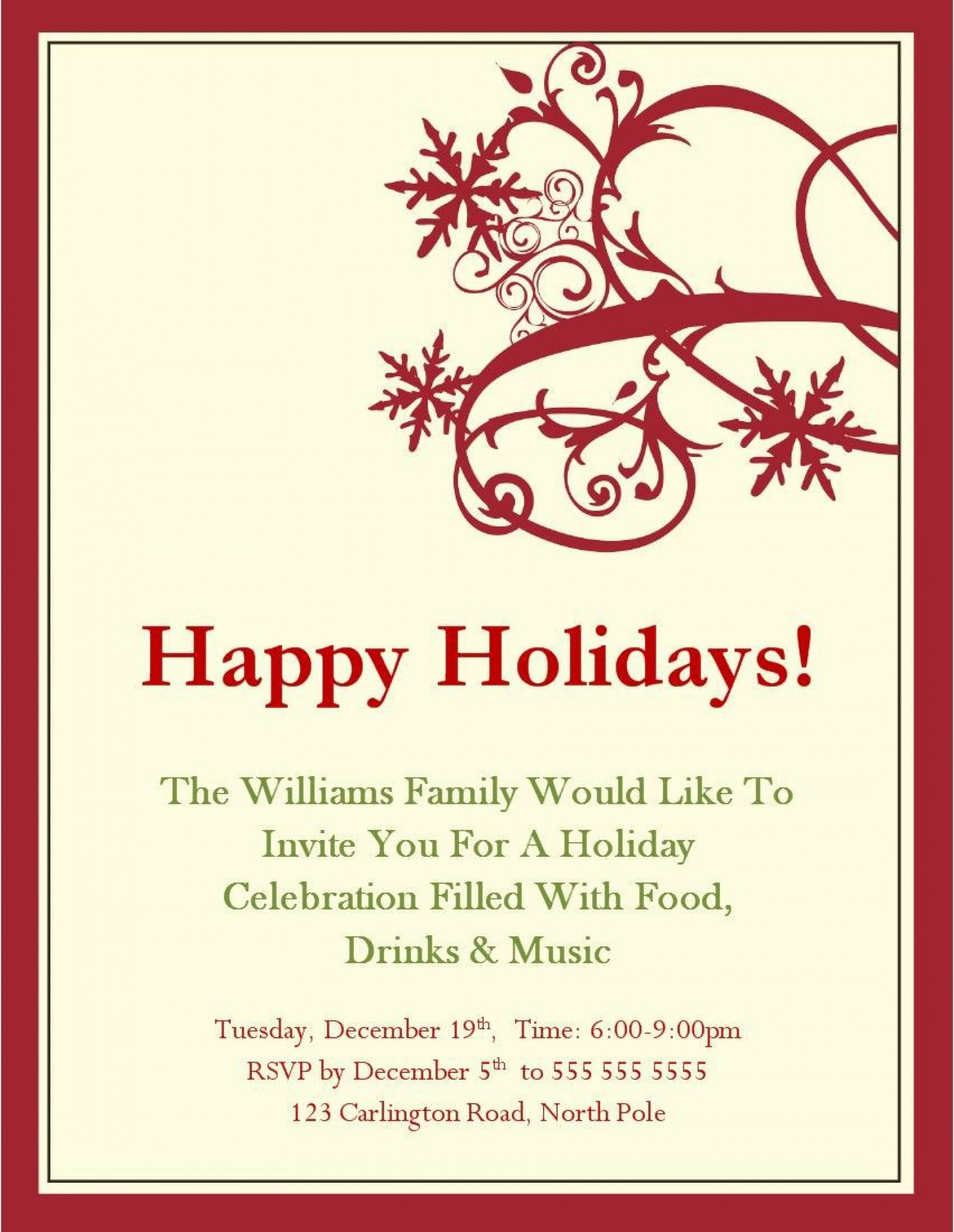 006 Beautiful Free Christma Invitation Template Word High Definition  Holiday Party Editable1920