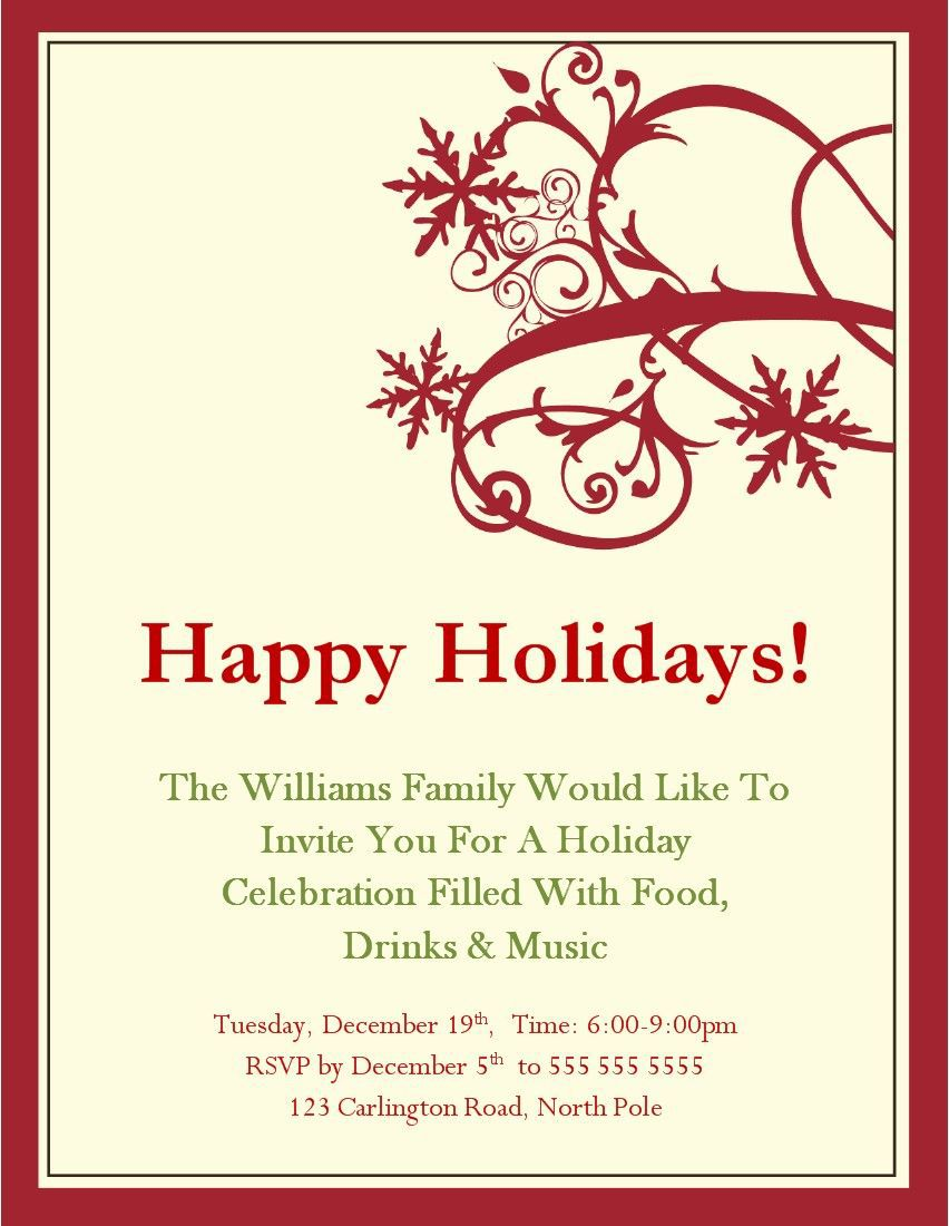 006 Beautiful Free Christma Invitation Template Word High Definition  Holiday Party EditableFull