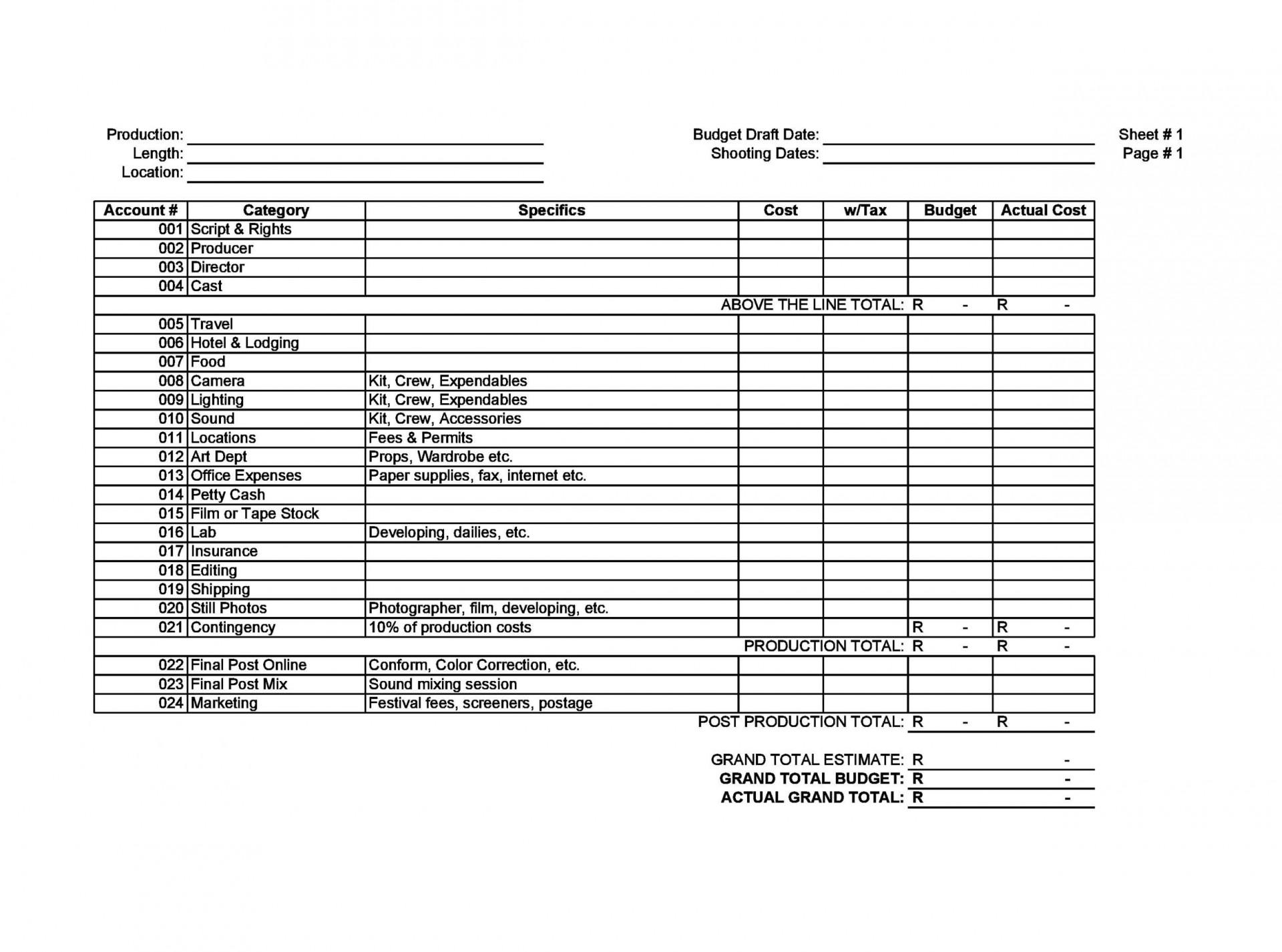 006 Beautiful Line Item Budget Form Concept  Sample Template Spreadsheet Format1920