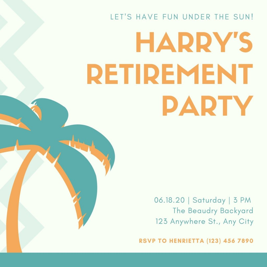 006 Beautiful Retirement Party Invite Template Design  Invitation Online M Word FreeLarge