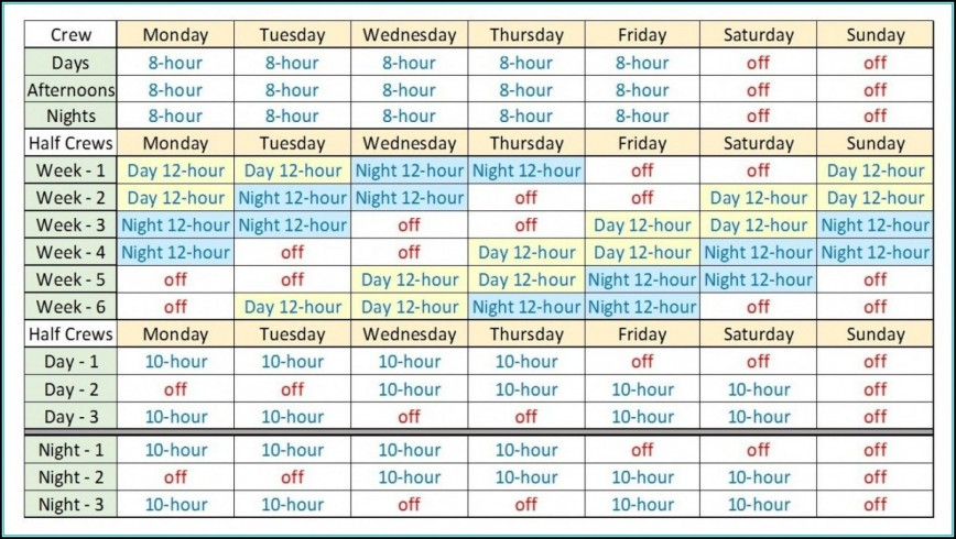 Rotating Shift Schedule Template Free Addictionary