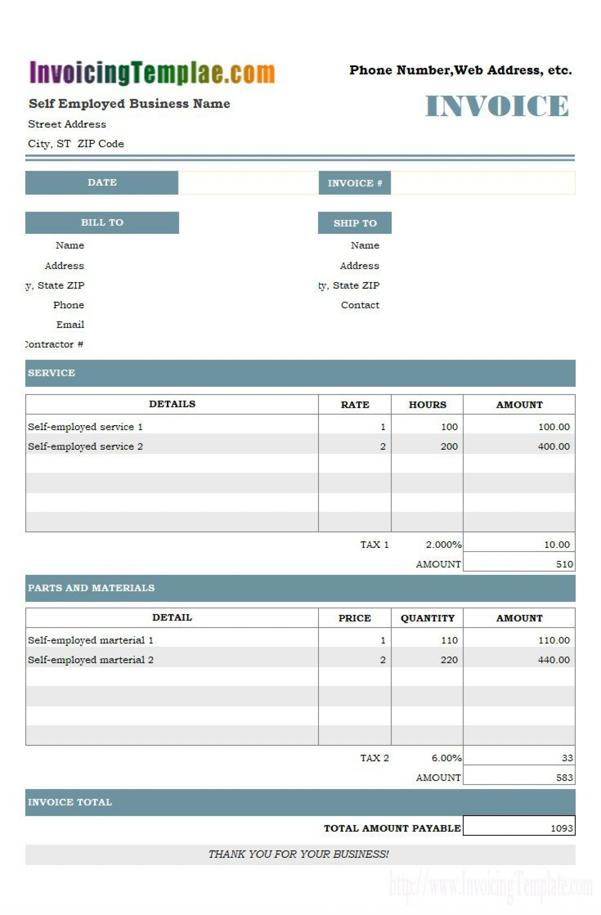 006 Beautiful Self Employed Invoice Template Idea  Hour Worked Excel Consultant Uk1920