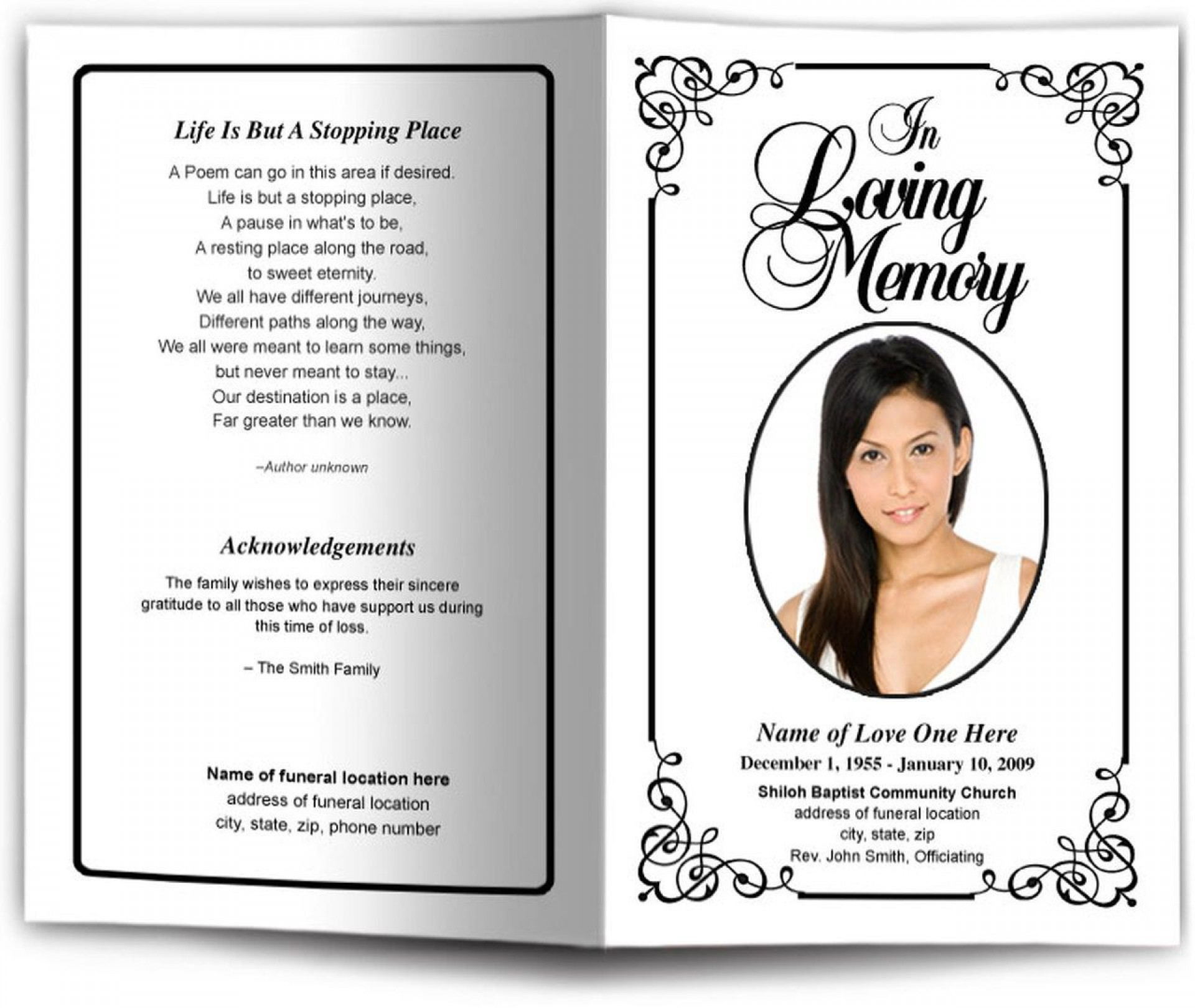 006 Beautiful Simple Funeral Program Template Free Example  Download1920