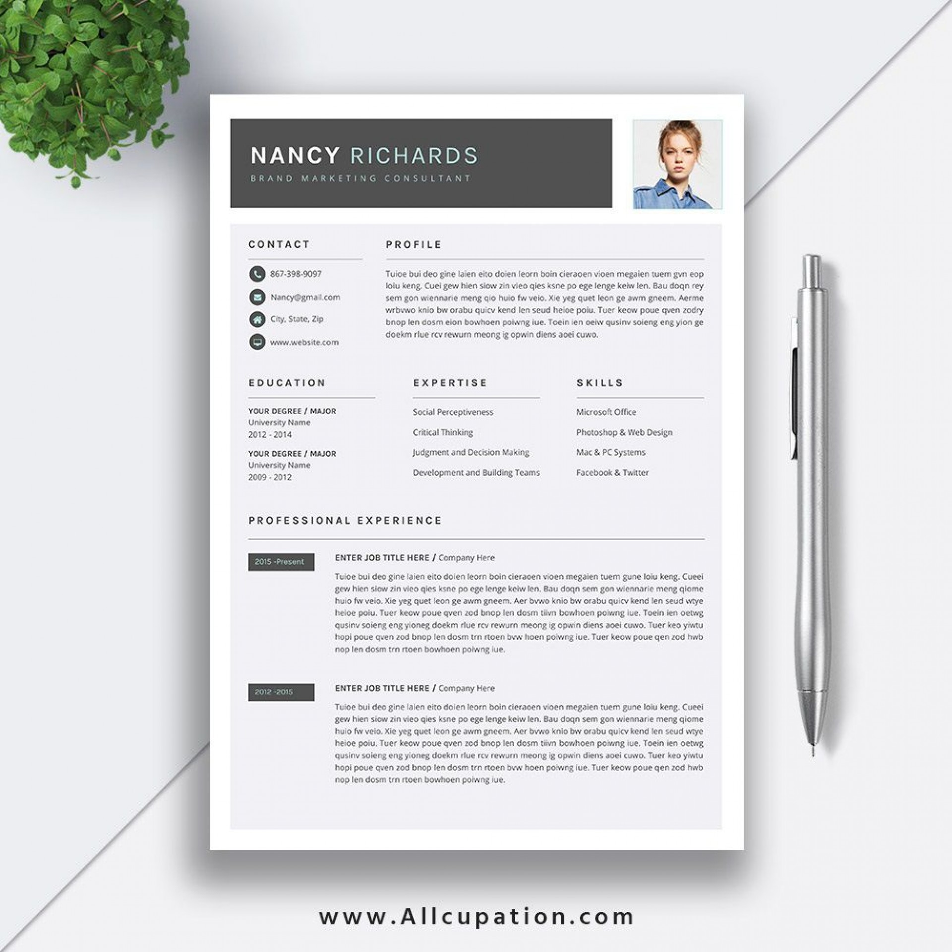 006 Beautiful Simple Professional Cv Template Word Highest Clarity 1920