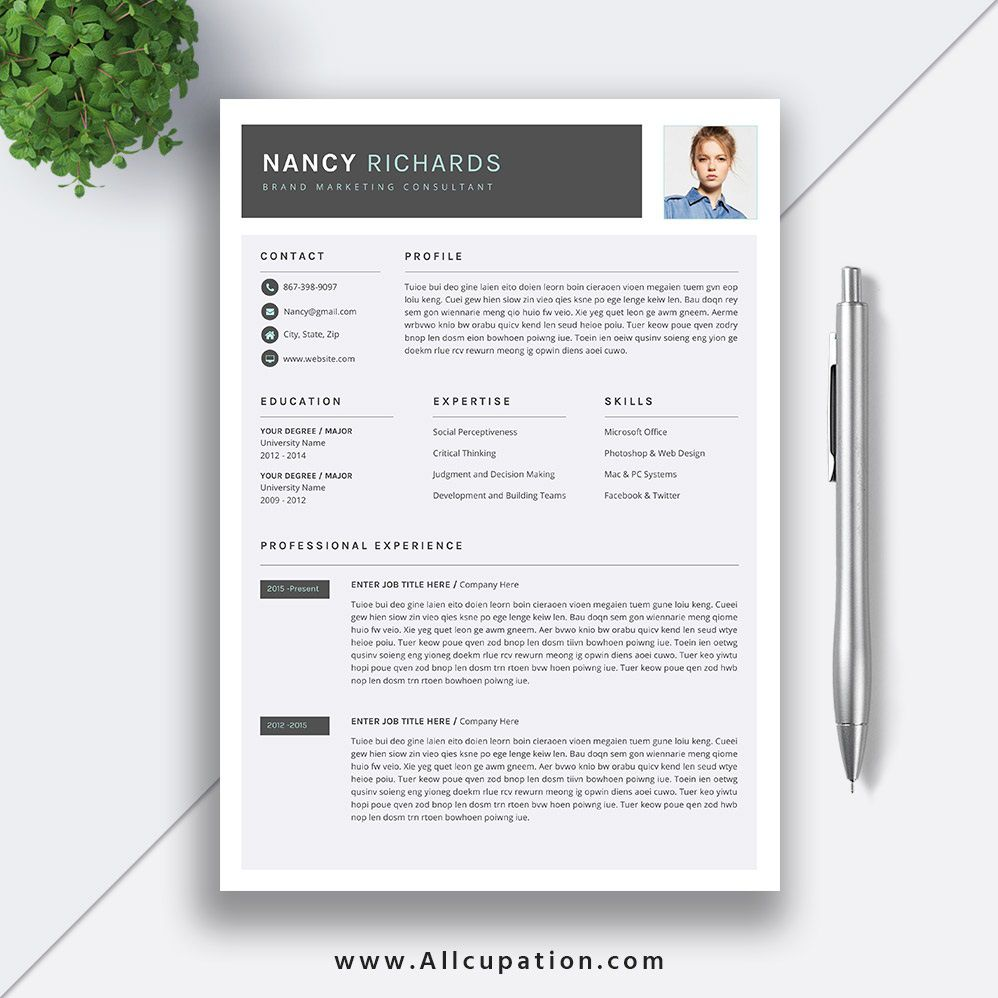 006 Beautiful Simple Professional Cv Template Word Highest Clarity Full