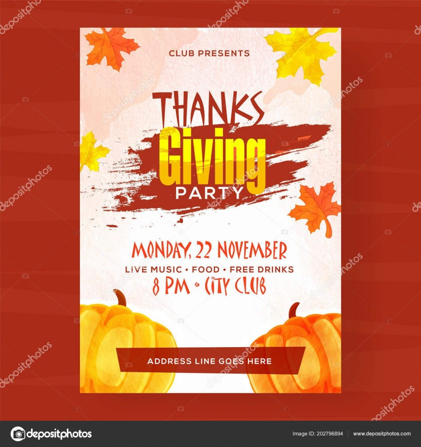 006 Beautiful Thanksgiving Flyer Template Free Concept  Party Microsoft