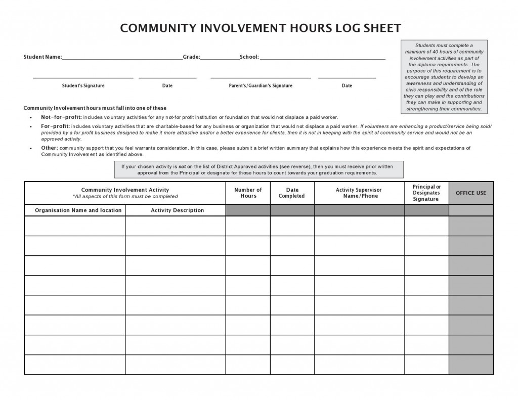 006 Beautiful Volunteer Hour Form Template Image  Service Community PdfLarge