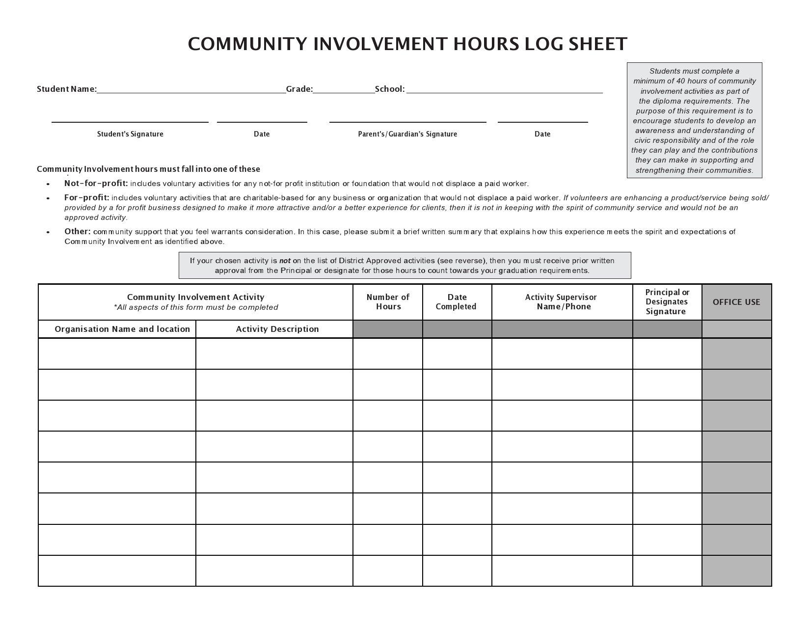 006 Beautiful Volunteer Hour Form Template Image  Service Community PdfFull