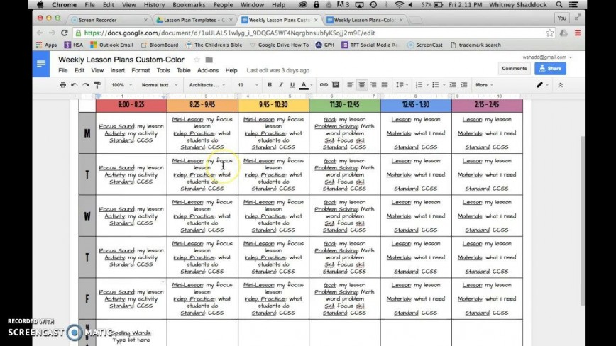 006 Beautiful Weekly Lesson Plan Template Google Doc Free Image