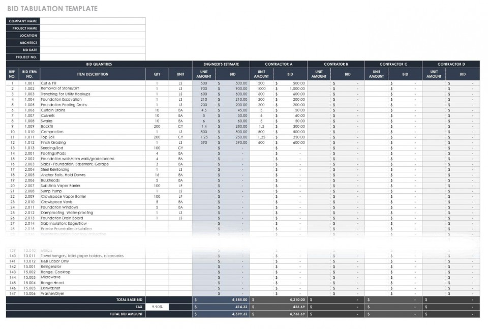 006 Best Construction Bid Template Free Excel High Def 960