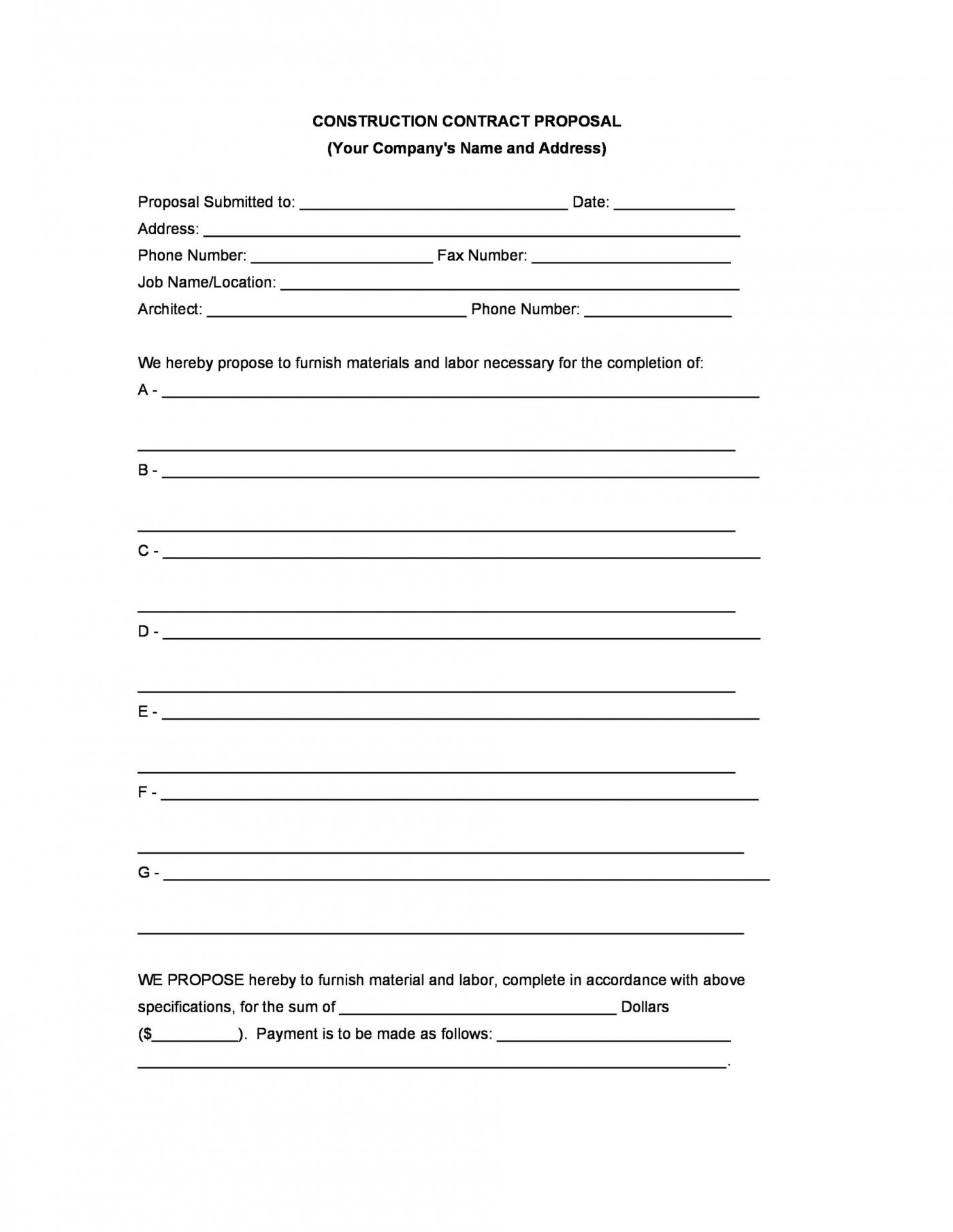 006 Best Construction Job Proposal Template Photo  Example1400