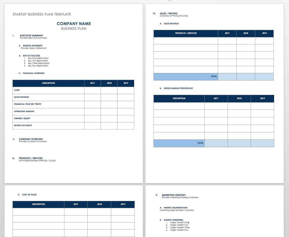 006 Best Excel Busines Plan Template Free Concept  Startup ContinuityFull
