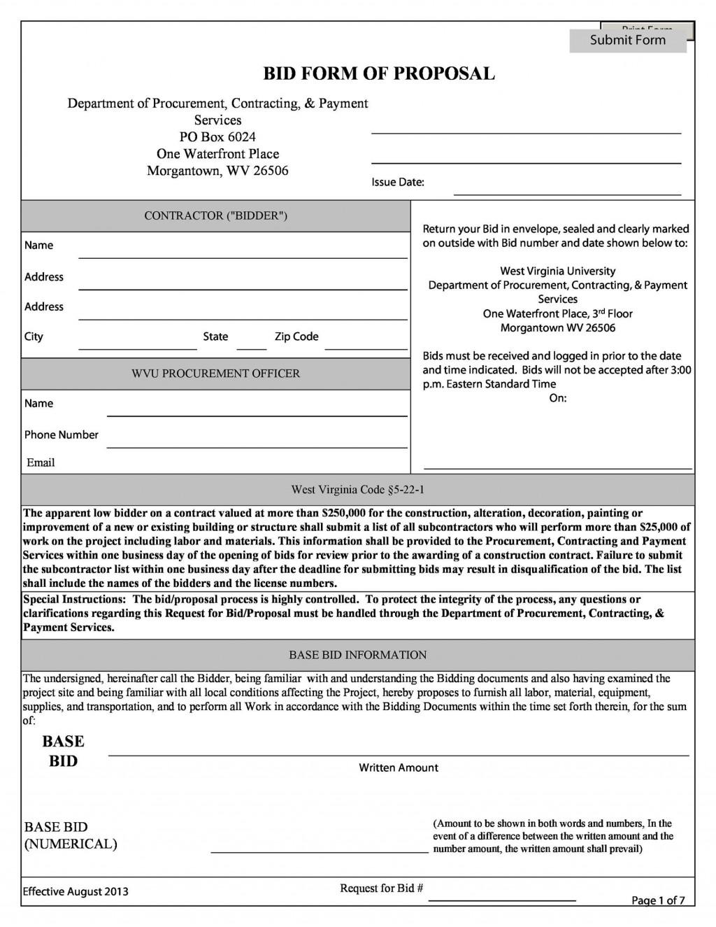 006 Best Free Bid Proposal Template Inspiration  Printable Form Word Construction DownloadLarge