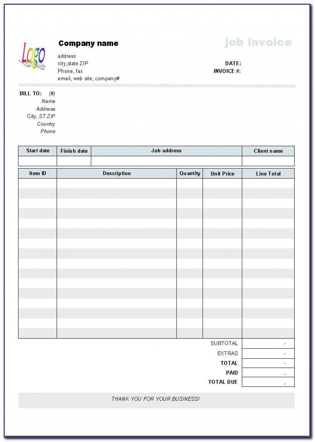 006 Best Free Blank Invoice Template Excel Concept  Download DownloadableLarge