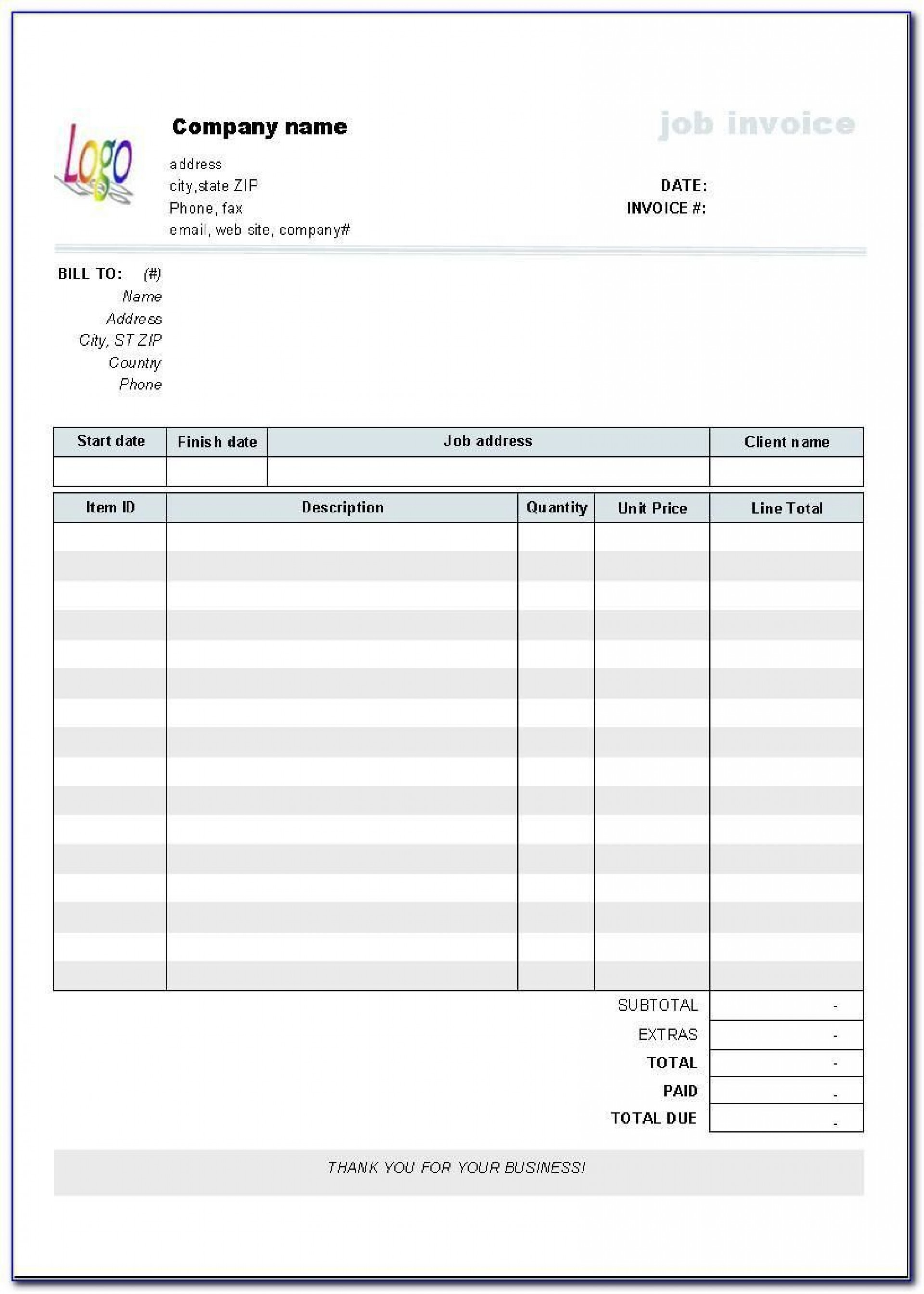 006 Best Free Blank Invoice Template Excel Concept  Download Downloadable1920