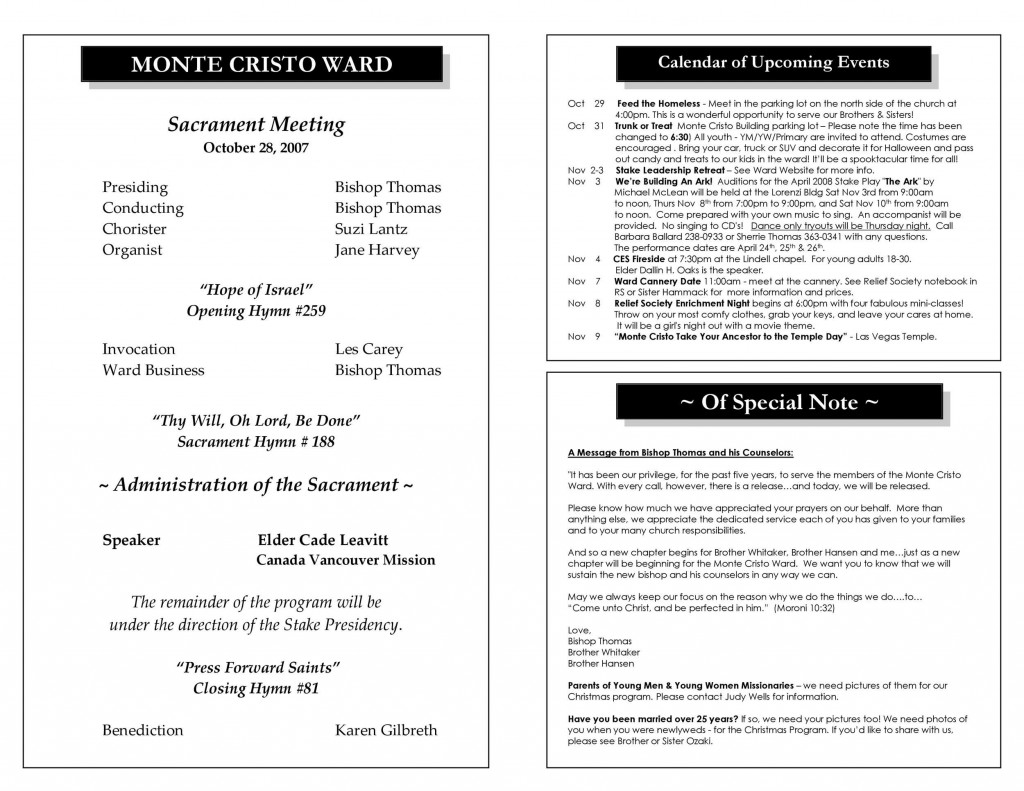 006 Best Free Church Program Template Inspiration  Printable Anniversary DocLarge