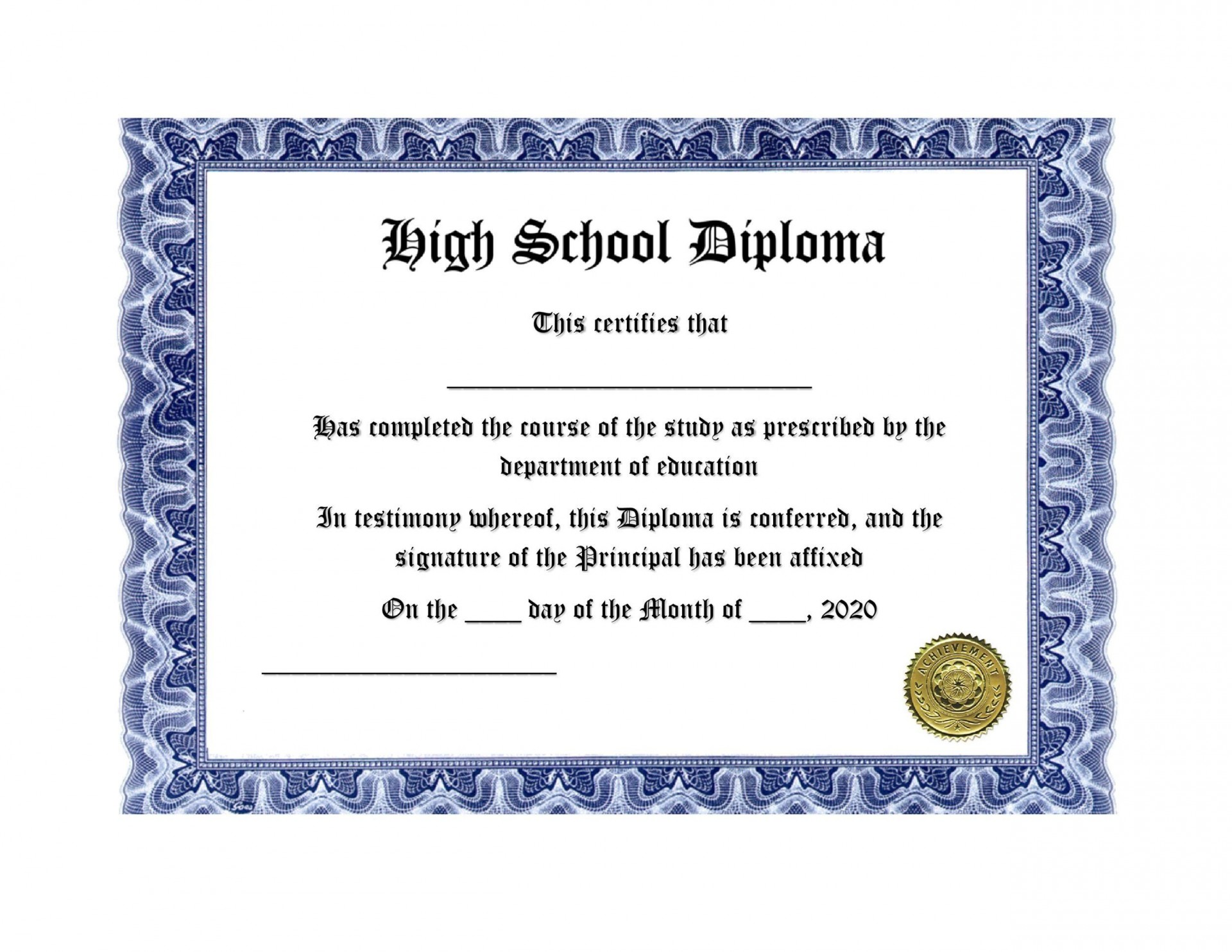 006 Best Free Printable High School Diploma Template Picture  With Seal1920