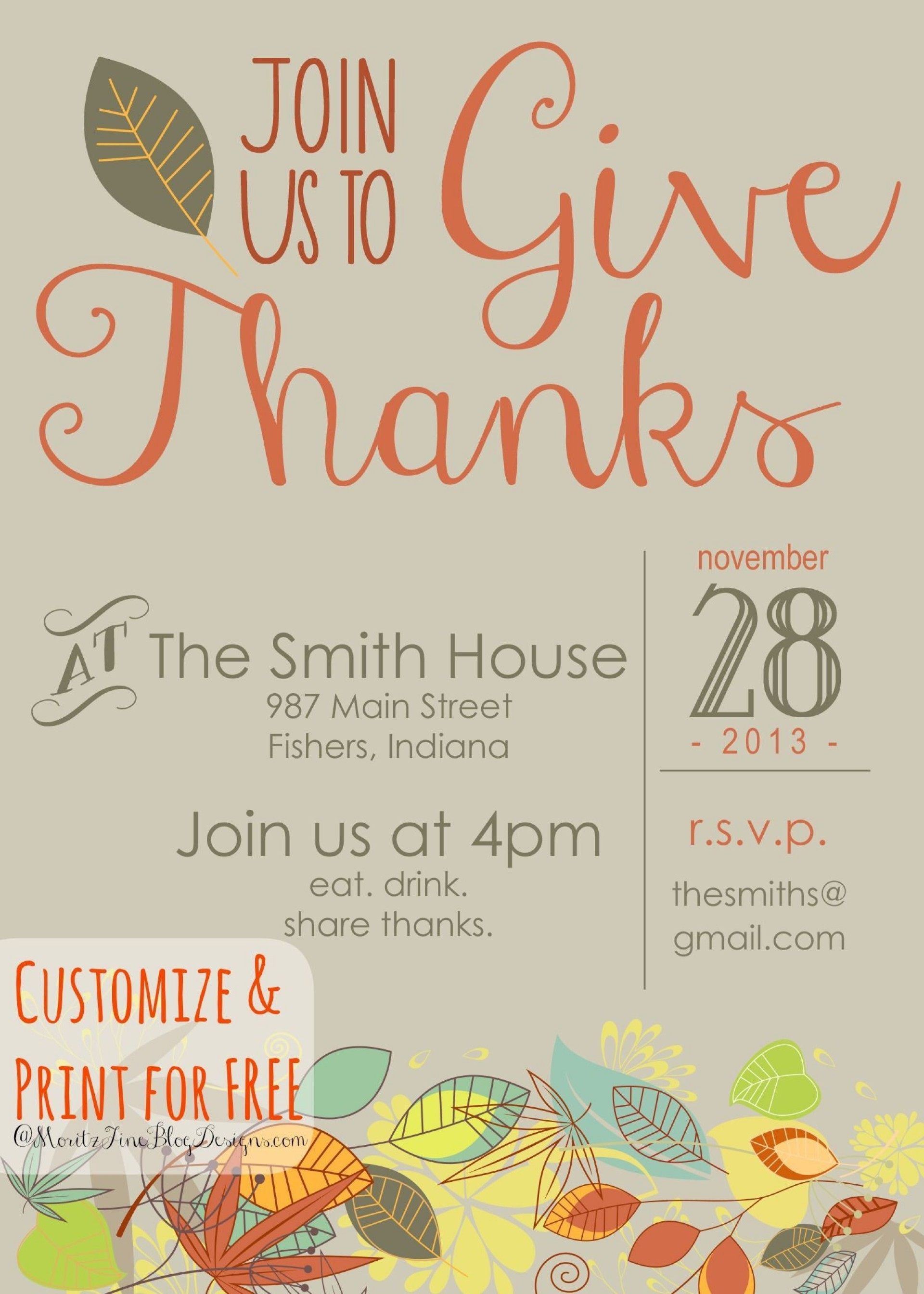 006 Best Free Thanksgiving Invitation Template Highest Quality  Templates Printable Dinner Download Potluck1920