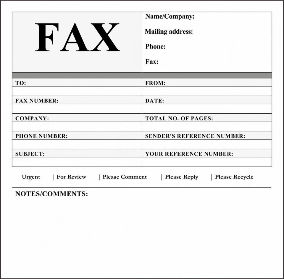 006 Best General Fax Cover Letter Template Inspiration  Sheet Word Confidential Example960