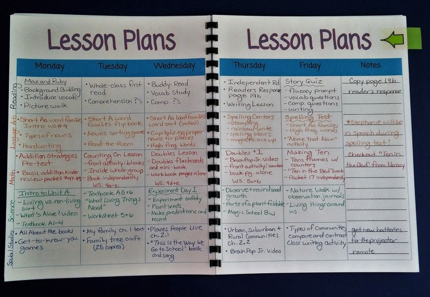 006 Best Lesson Plan Book Template Concept  Printable Free