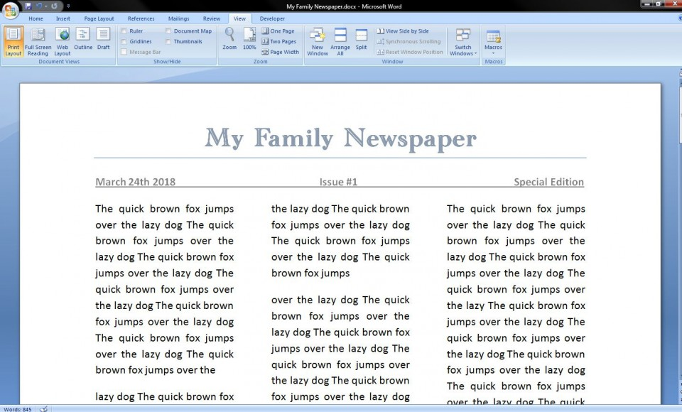 006 Best Microsoft Word Newspaper Template Example  Vintage Old Fashioned960