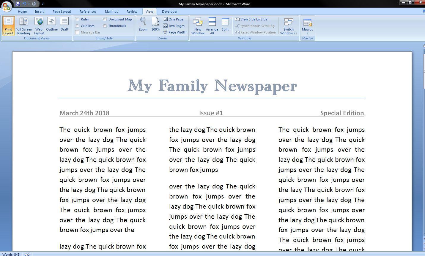 006 Best Microsoft Word Newspaper Template Example  Vintage Old FashionedFull