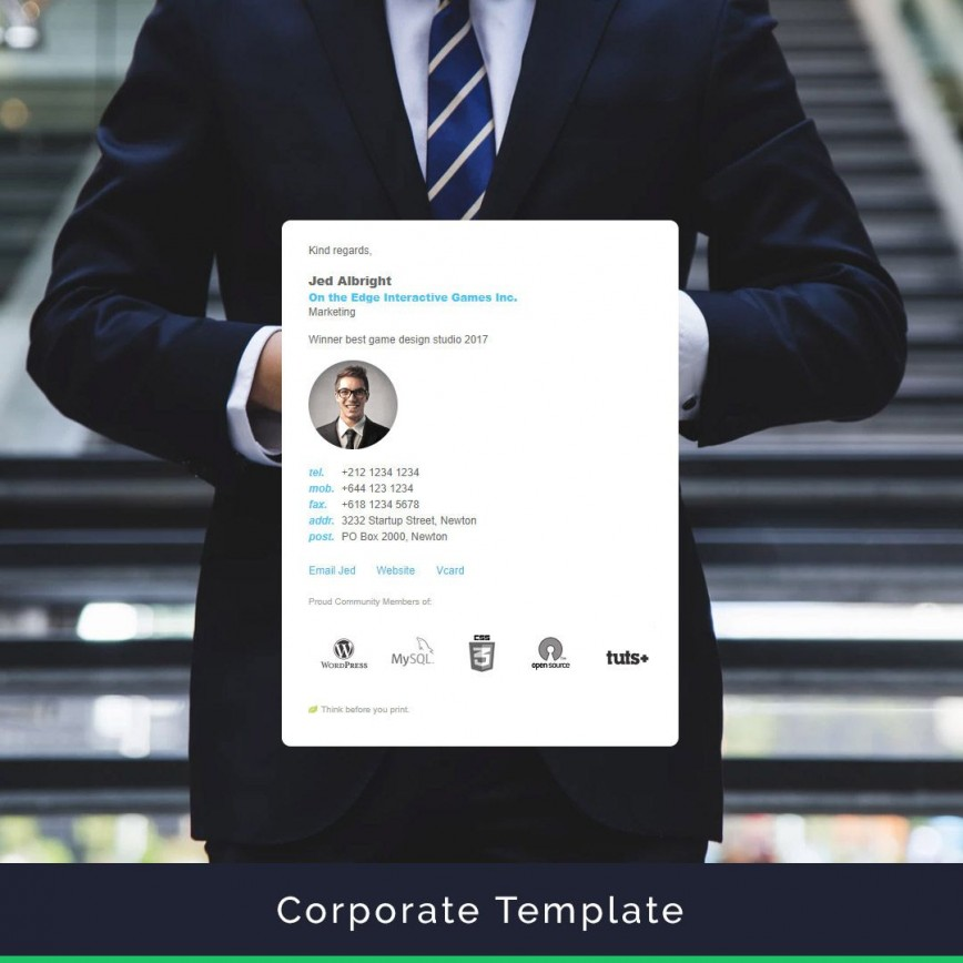 006 Best Professional Email Signature Template High Resolution  Templates Download Example Busines